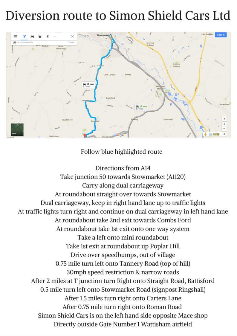 Access roads closed to Simon Shield Cars Ltd