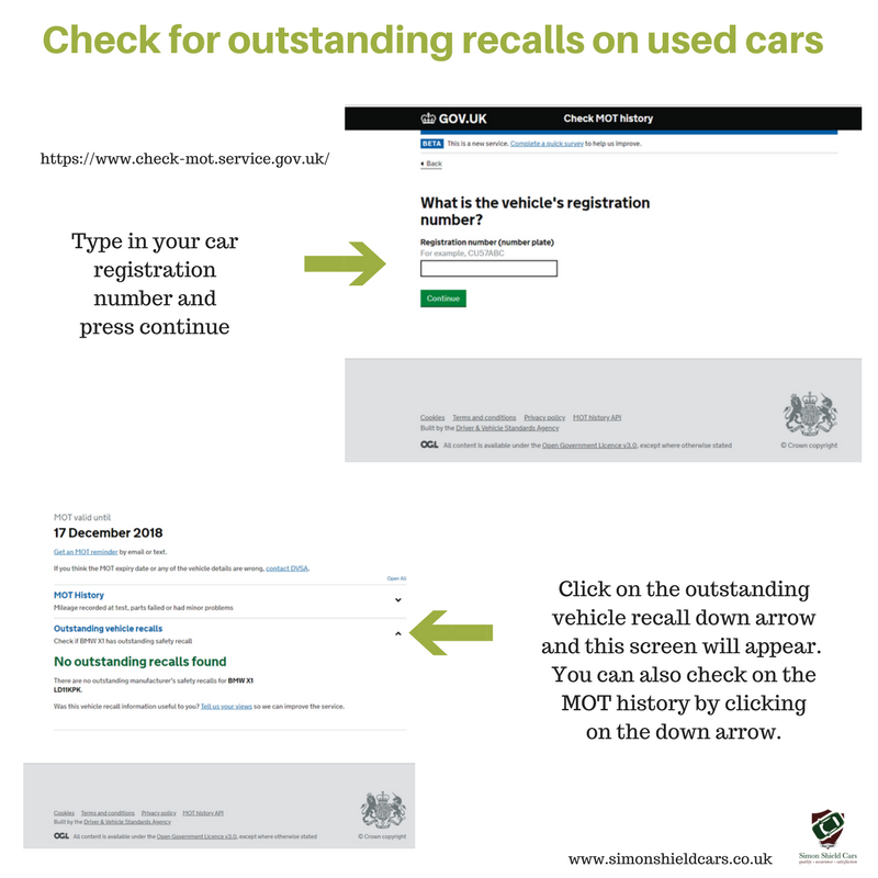 Car recall information accessible via DVLA