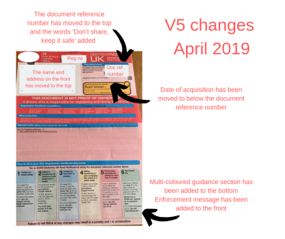 V5 registration document changes - cars